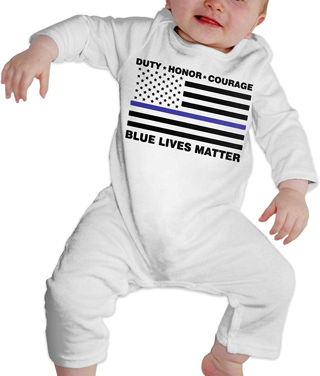 Blue Lives Matter Police Blue Line Us Flag1 Printed Baby Jumpsuit Long Sleeve Pajamas White