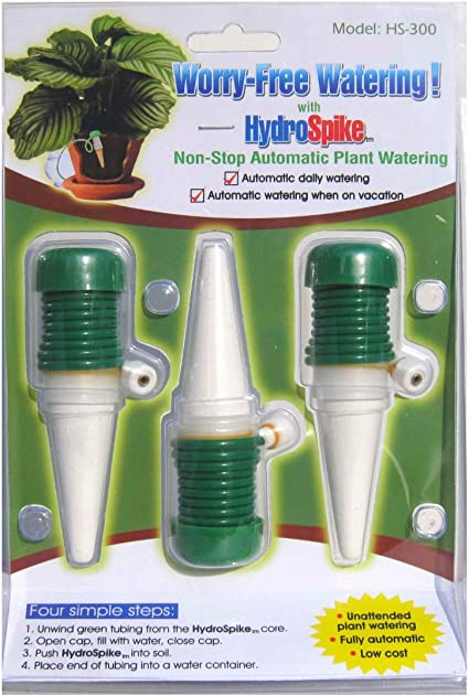 Amazon Com Hydrospike Hs 300 3 Pack Worry Free Automatic Plant Watering Devices Kit Self Auto Waterer Spikes Bulbs Stakes Irrigation System For Indoor House Plants Vacation No Glass Globe Bottle Jug Can Plant