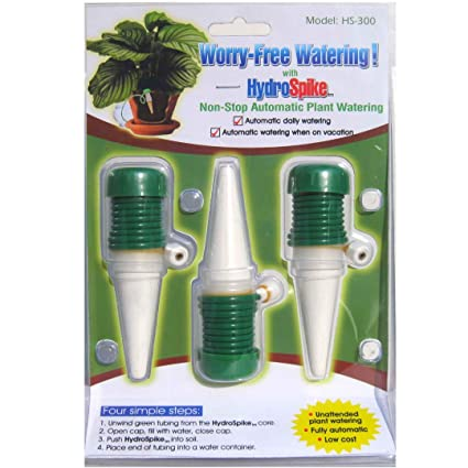 HydroSpike HS-300 (3-Pack) Worry-Free Automatic Plant Watering Devices Kit   Self Auto Waterer Spikes, Bulbs, Stakes Irrigation System for Indoor House