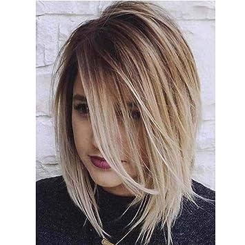 Farbverlauf Teilweise Kurze Glatte Haare Weibliche Perucke