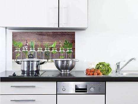 GRAZDesign 200126_80x40_SP Spritzschutz Glas für Küche/Herd | Bild-Motiv  Kräuter im Glas | Küchenrückwand Küchenspiegel Glasrückwand (80x40cm)