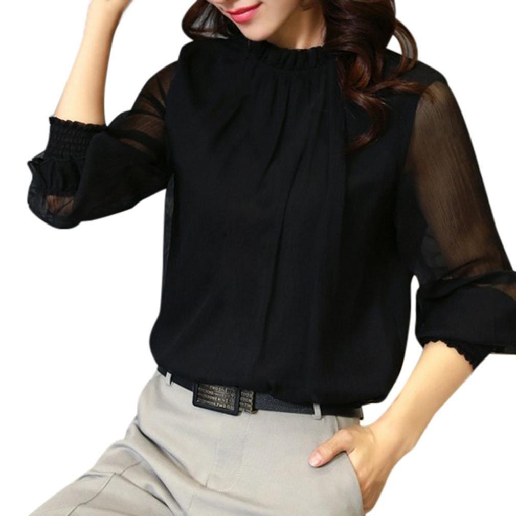 Amlaiworld Donna chiffon elegante sciolto volant manica lunga camicetta Magliette casual Tops Amlaiworld_1569