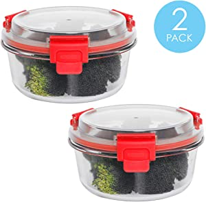 Home Basics 32 oz. Round Leak and Spill Proof Borosilicate Glass Food Storage Dishwasher Safe Meal Prep Storage Container with Air-tight Plastic Lid, Red (2)