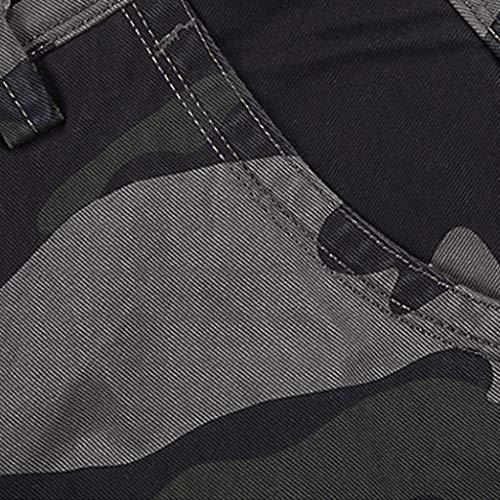 pocket elasticizzati Nero Byste Da Camuffamento Estivi All'aperto Lavoro Pantaloni Multi Attrezzeria Cargo uomo Corti Pantaloncini ppT0t
