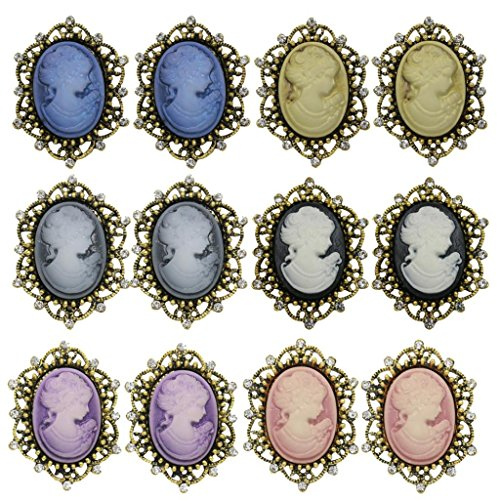 MonkeyJack 12PCS Vintage Crystal Antique Victorian Cameo Brooch pin Wedding Party Gift - Antique Gold-Style 2
