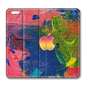 Apple logo on the easel Standing Leather Smart Cover Case Exclusive for iPhone 6 Screen
