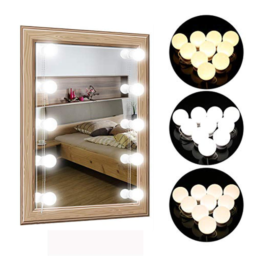 Hollywood Style LED Vanity Mirror Lights Kit,Upgraded 3 Color Lighting Modes,Makeup Lighting Fixture,10 Dimmable Light Bulbs and Smart Dimmer for Vanity Table Set/Bathroom Mirror 3000K-6500K