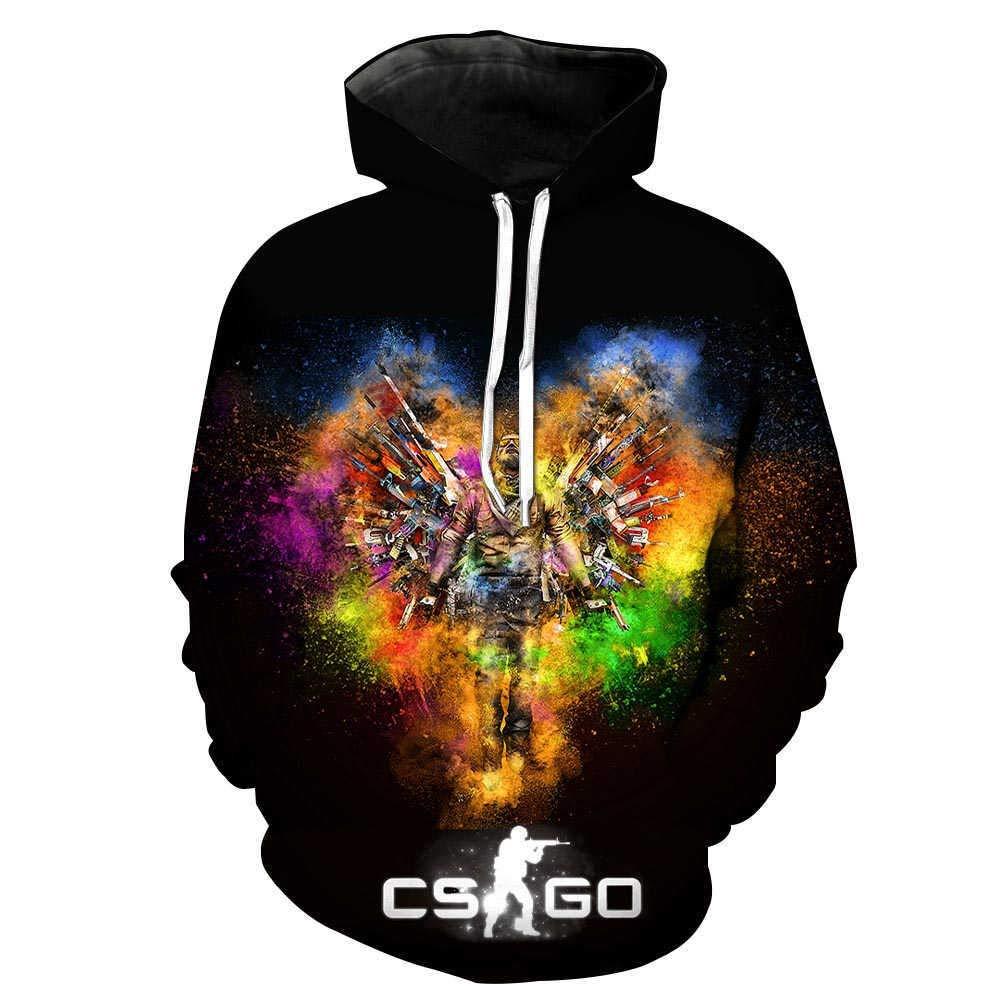 Sudadera con Capucha 3D Unisex De Primavera Y Oto/ño CS.Go Shooting Game 3D Camiseta Impresa Camiseta Ropa De Abrigo