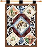 Cheap Manual Cheyenne Western Boots Horse Cowboy Tapestry Wallhanging with Wood Rod Set HWTCHE 26×36