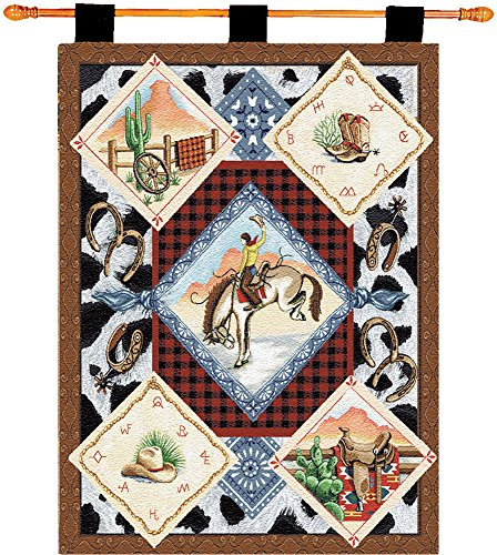 Manual Cheyenne Western Boots Horse Cowboy Tapestry Wallhanging with Wood Rod Set HWTCHE 26×36″
