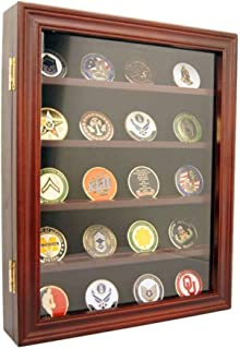 product image for flag connections Lockable 30 Military Challenge Coin, Poker Chip, Sports Coin Display Case Cabinet, Glass Door, Coin30-CHR