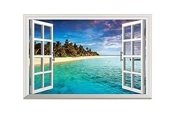 Kentop Wandaufkleber Fenster Mittelmeer Strand Urlaub Wandsticker