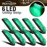 Partsam 8 4''x1'' Green Led Slim Line Led Utility Strip Lights 6 Diodes General Lighting