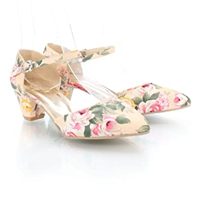 Women's Floral Low Heel Dress Pumps