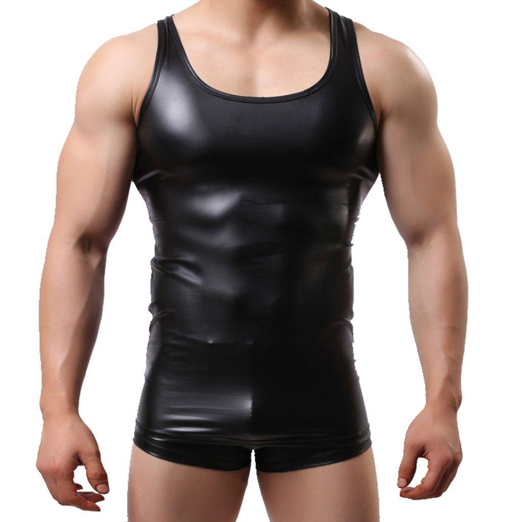 0a3e2d29 Amazon.com: IGIG Men's Shiny Metallic Leather Look Underwear Sleeveless T  Shirt Vest Tank Top: Clothing