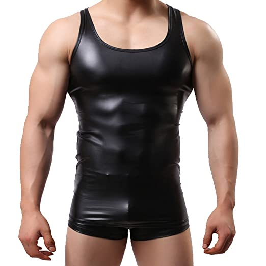 IGIG Men s Shiny Metallic Leather Look Underwear Sleeveless T Shirt Vest  Tank Top Black Medium 372b9cbdf