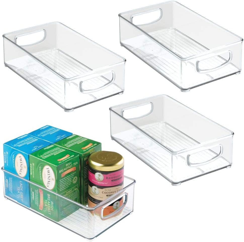 Mdesign Kitchen Cabinet And Pantry Storage Organizer Bins Pack Of 4 Shallow 841247163963 Ebay