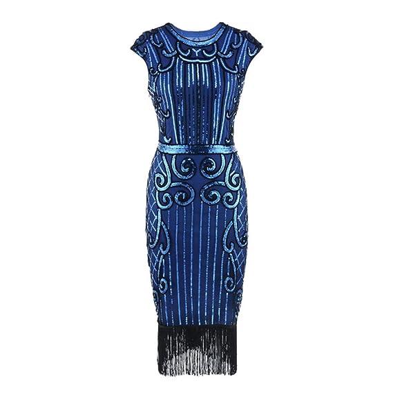 Maxikleider SANFASHION 1920 Vintage Damen Sommer Quaste Art Nouveau  verschönert Fransen Flapper Kleid 9fcb142b2b