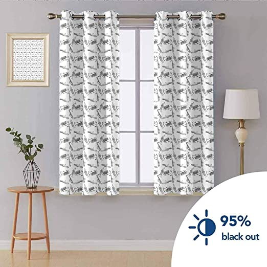 Amazon Com Bedroom Soundproof Curtains W 63 X L 63 Darkened Curtains In Some Rooms Of Home Decoration Jazz Music Monochrome Hand Drawing Style Trombone Trumpet Blues Jazz Concert Performance Black White Home Kitchen