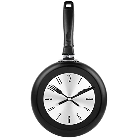 Kitchen Wall Clock, SOLEDI 8u0026quot; Modern Design Metal Frying Pan Kitchen  Wall Clock Home