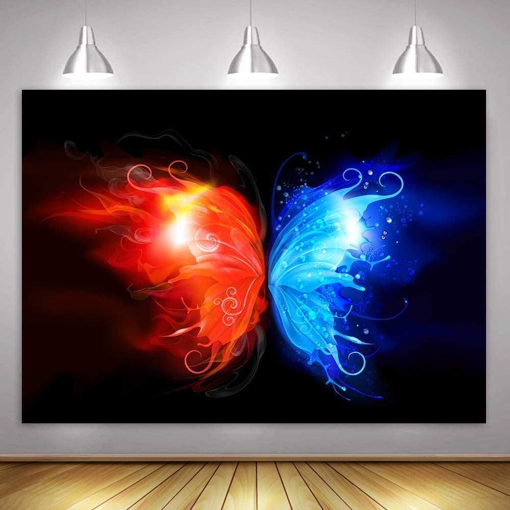 MME Backdrop 10x7ft Black Background Red Blue Beautiful Butterfly Wings Children Photography Seamless Vinyl Photo Studio Props NANME586