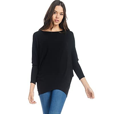 Alexander + David Womens Casual Pullover Dolman Long Sleeve Pullover Loose Fit Blouse Knit Top at Women's Clothing store