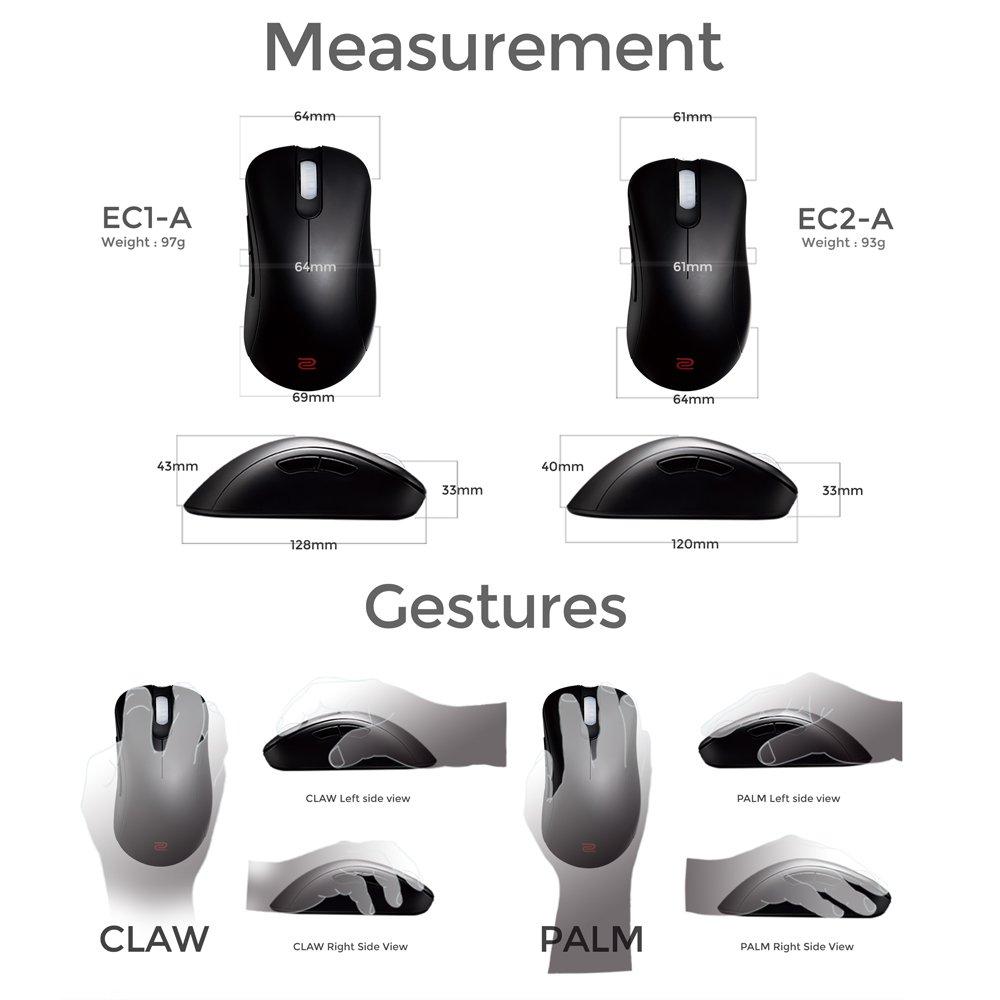 BenQ ZOWIE EC2-A Mouse per e-Sport Nero Sensore 3310 120 x 61 x 40 mm