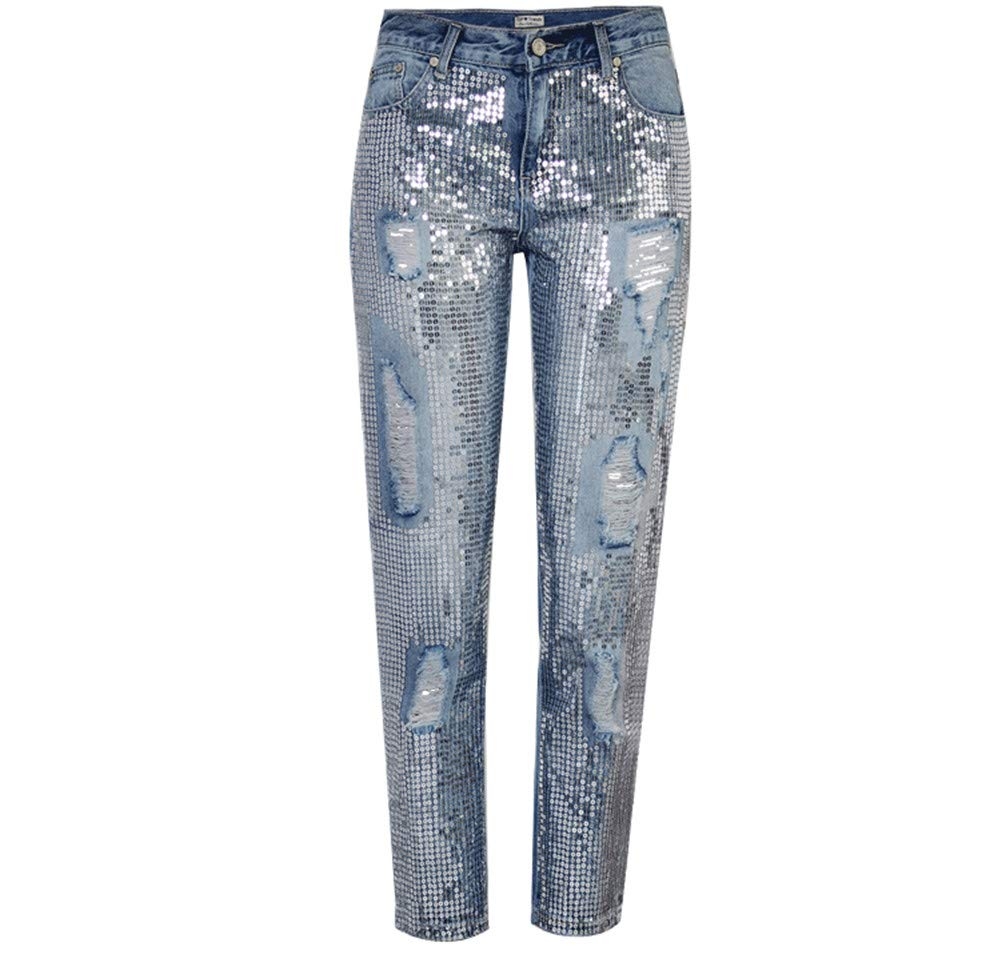 bluee Women's Boyfriend Mid Rise Jeans Distressed Sequin Ripped Jeans Comfy Loose Casual Denim