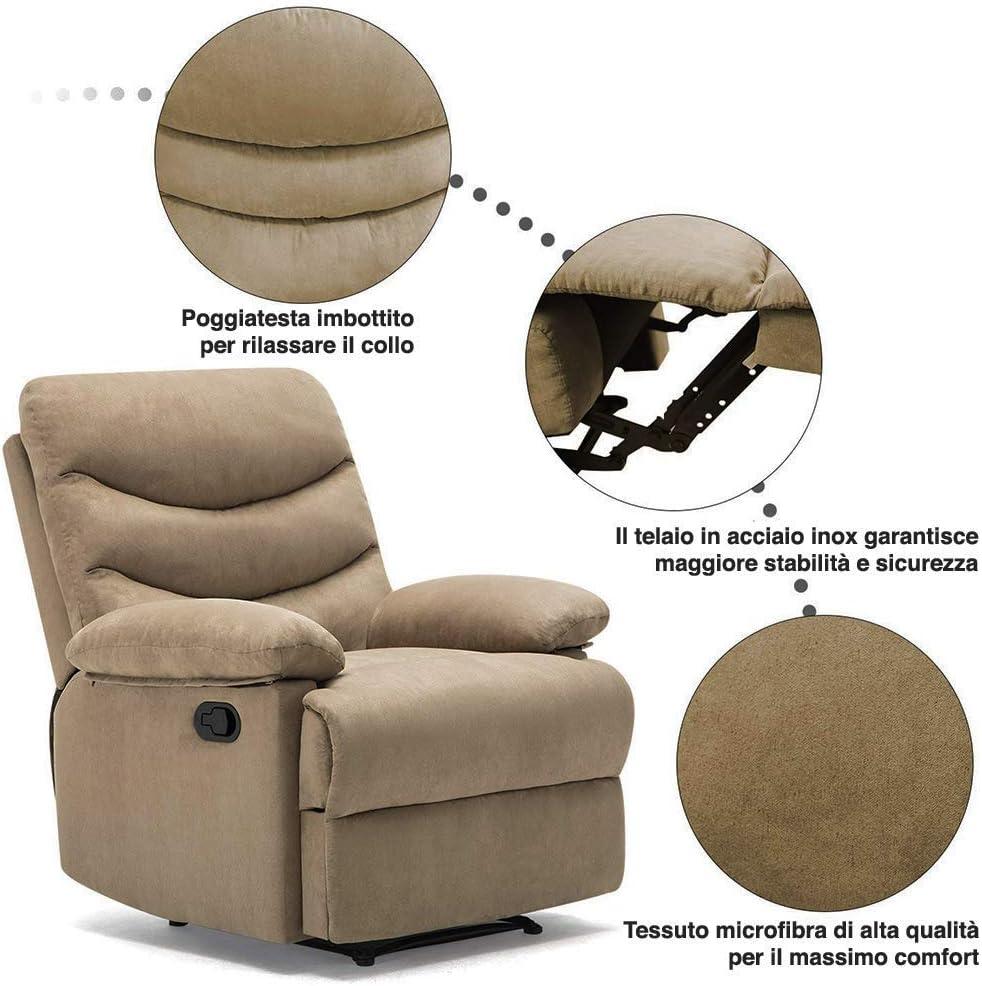 Relax Casa Ufficio Design Moderno con Telecomando BAKAJI Poltrona Massaggiante 2 Motori Massaggio Reclinabile Manuale in Tessuto Microfibra Imbottito Ideale per Riposo della Schiena Grigio