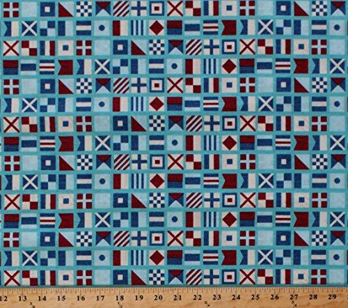 Cotton Ship Ahoy Nautical Signal Flags Pennant Sailors Red Cream Blue Cotton Fabric Print (03053-50) (Nautical Fabric Cotton)