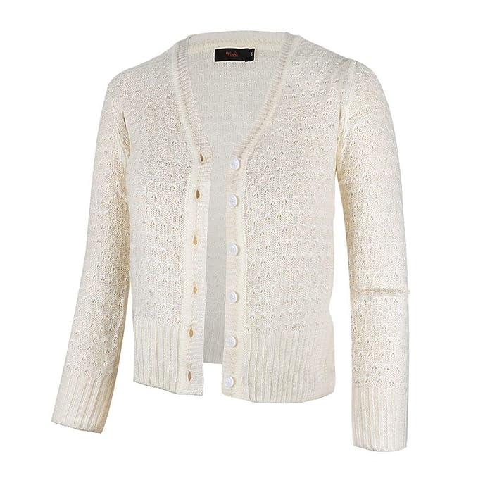 7543d983392 Women Button Down 3/4 Sleeve Knit Cropped Cardigans Crochet Sweater V Neck  Ladies Short Bolero Cardigan (S-XXL)