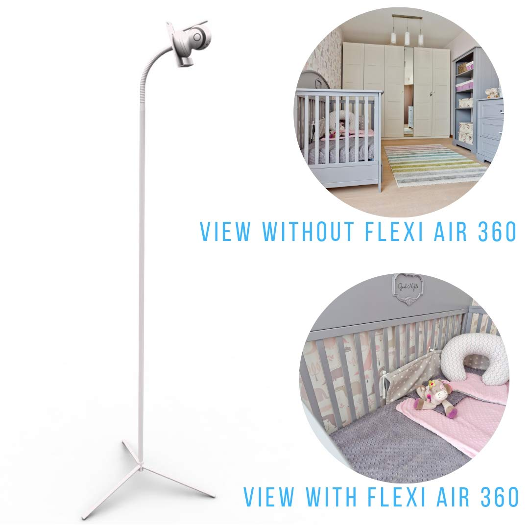 Baby Monitor Holder Camera Stand for Nursery Compatible with Most Baby Monitors The Universal Freestanding Flexi Air 360 Round Base White Baby Video Monitor Shelf with Flexible Hose