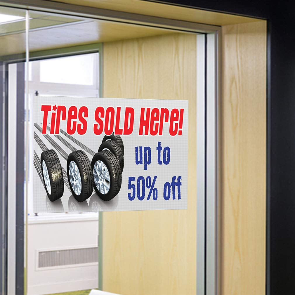 Decal Sticker Multiple Sizes Tires Sold Here Up to 50/% Off Business Banners Tires Outdoor Store Sign White One Sticker 69inx46in