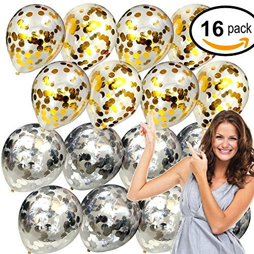 14 inch Confetti Balloons Gold & Silver - [Set of 16] - Weddings, Parties, Bridal Showers, Baby Showers, (Silver And Gold Balloons)