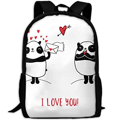SZYYMM Customized Panda I Love You Oxford Cloth Fashion Backpack,Travel/Outdoor Sports/Camping/School, Adjustable Shoulder Strap Storage Backpack For Women And Men well-wreapped