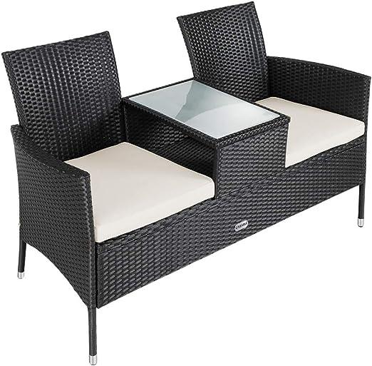 Casaria Banco de 2 plazas de Poliratán 143x55x88cm con reposabrazos Respaldo sofá Muebles para jardín terraza balcón Patio: Amazon.es: Jardín