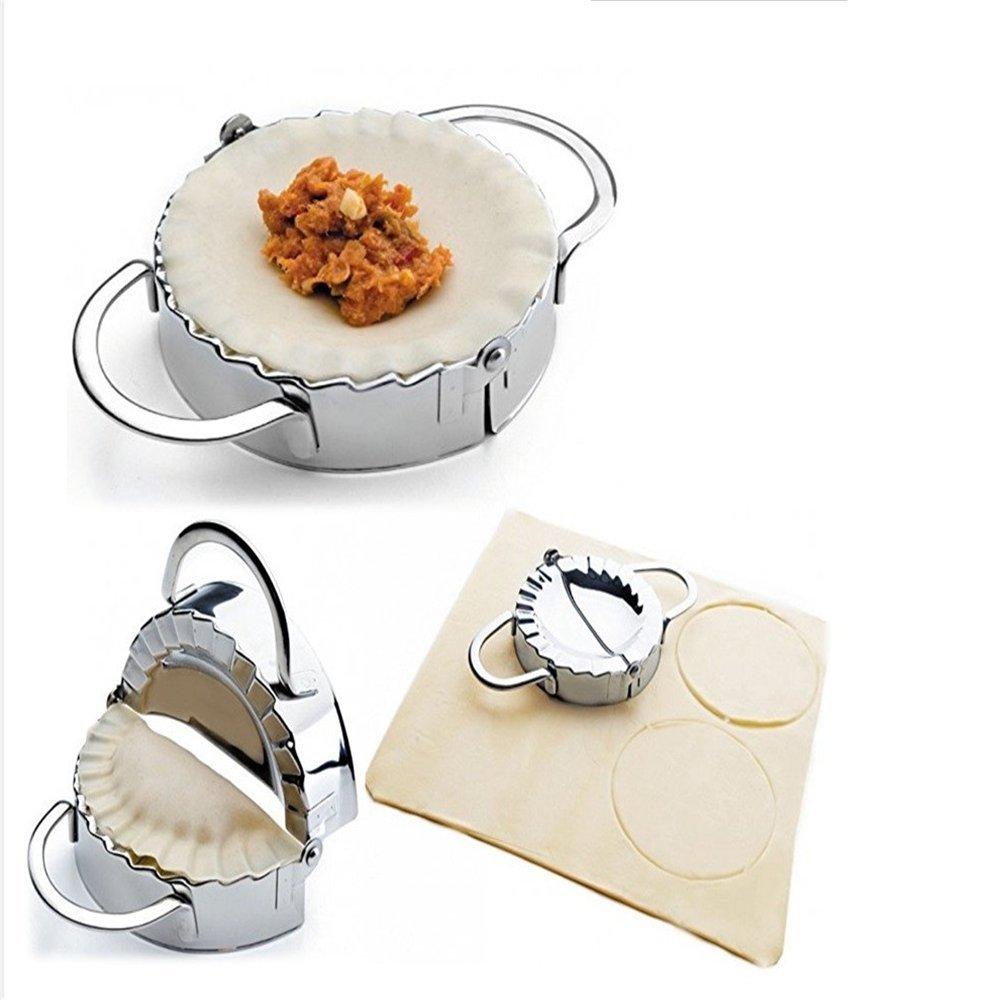 ZY Pastry Tools Stainless Steel Dumpling Maker Wraper Dough Cutter Pie Ravioli Dumpling Mould Kitchen Accessories, 9.5 cm