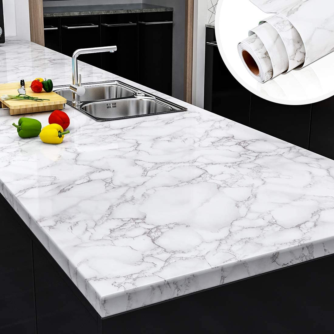 "Yenhome Faux Marble Peel and Stick Countertops 24"" x 118"" White Gray Marble Counter Top Covers Peel and Stick Wallpaper for Kitchen Backsplash Peel and Stick Self Adhesive Removable Wallpaper"