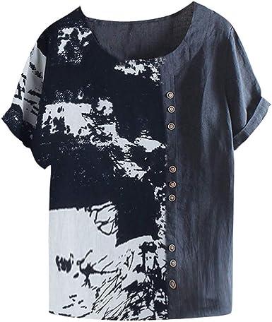 Vectry Camisa Mujer Tallas Grandes Mujer Manga Corta Algodón Lino O-Cuello Blusa Estampada Top Camiseta Camisa Otoño Verano Playa Y Fiesta: Amazon.es: Ropa y accesorios