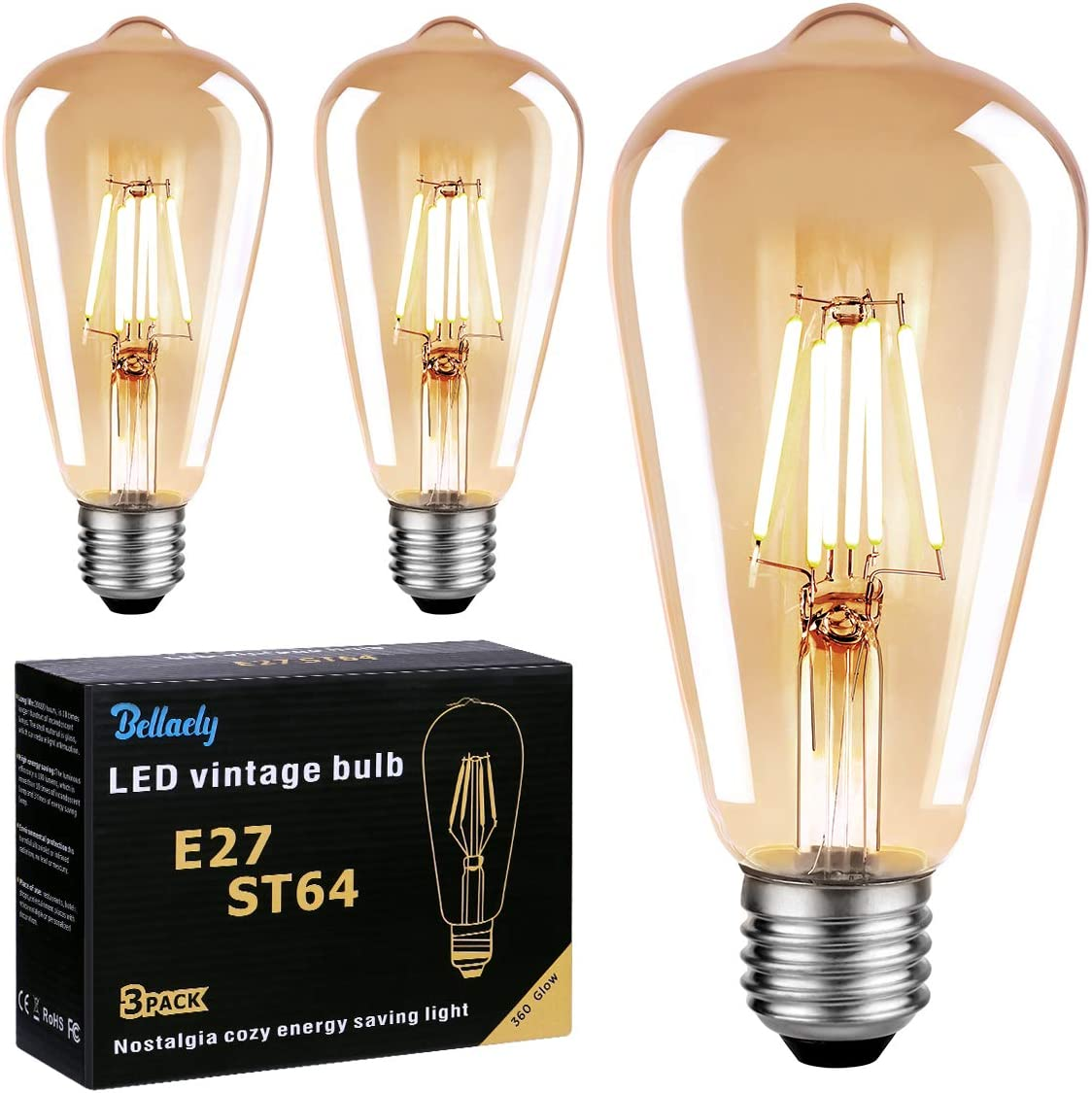 Bombilla Vintage E27 LED, Bellaely Bombilla Filamento LED ST64 6W Equivalente a 60W, 600LM 2700K E27 Retro Edison Bombillas Decorativas Lámpara Ambar Cálido, No Regulable - Pack de 3
