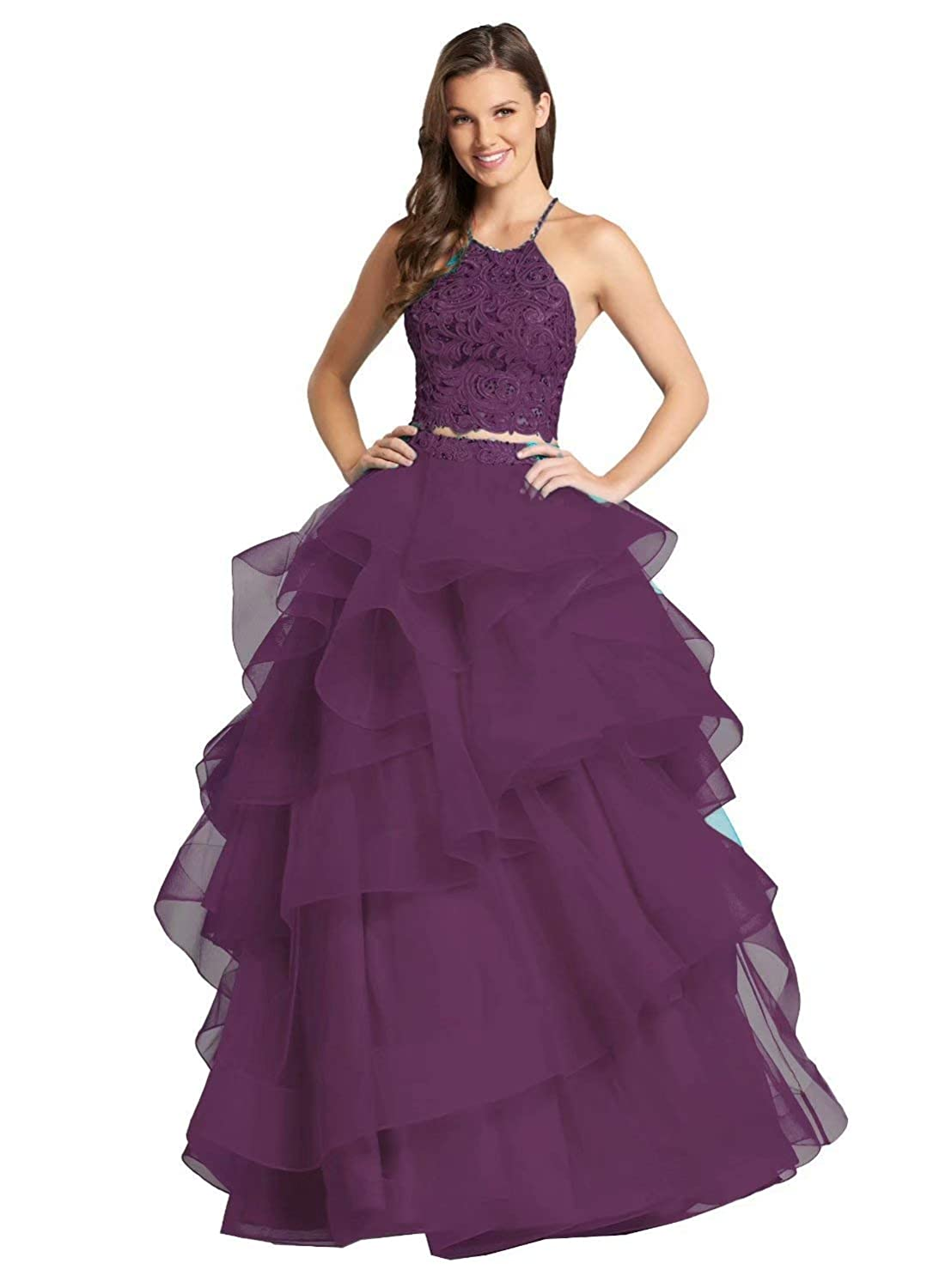 color 20 Unions Women Two Piece Beaded Formal Party Ball Gowns Long Ruffles Layered Tulle Prom Dresses