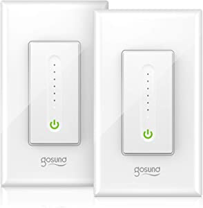Smart Dimmer Switch, Gosund Smart Light Switch Works with Alexa & Google Home, with Remote Control & Schedule, Neutral Wire Needed, Single-Pole, No Hub Required, ETL Listed, Easy Installation (2 Pack)