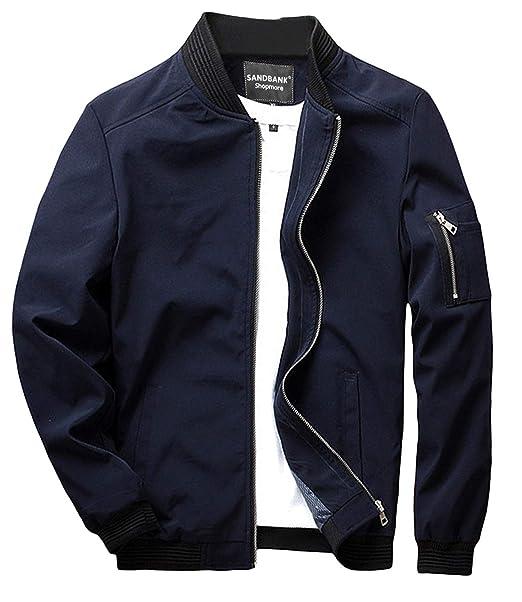 sandbank Mens Slim Fit Lightweight Softshell Flight Bomber Jacket Coat