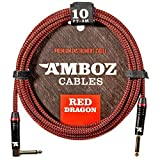 Red Dragon Instrument Cable - Noiseless for Electric Guitar and Bass - 10Foot TS 1/4Inch Angled PL
