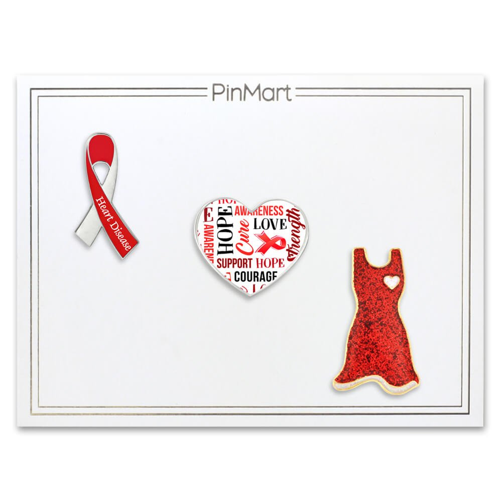Amazon Pinmarts Red Heart Disease Awareness Ribbon Enamel