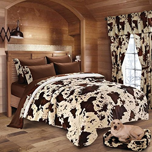 20 Lakes Cow Print Sherpa Blanket + Microfiber Sheet, Pillowcase Set (King, Rodeo-Chocolate)