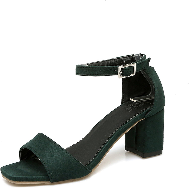 Collocation-Online 2018 Large Size 32-43 Ankle Strap Women Shoes Sandals Square Heels Party Date Sandal Woman