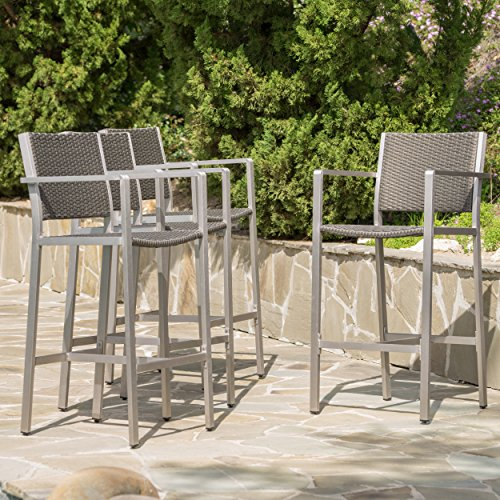 Capral Outdoor Grey Wicker Barstools (Set of 4) by GDF Studio