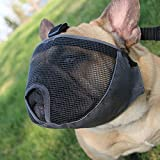 Dog Muzzles for Short Snout Dog, Breathable Mesh Dog Muzzle for Bulldog and Short-snouted Breeds to Anti-biting, Barking and Licking (M, Grey)