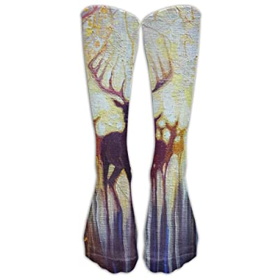 High Boots Crew Deer Painted Compression Socks Comfortable Long Dress For Men Women